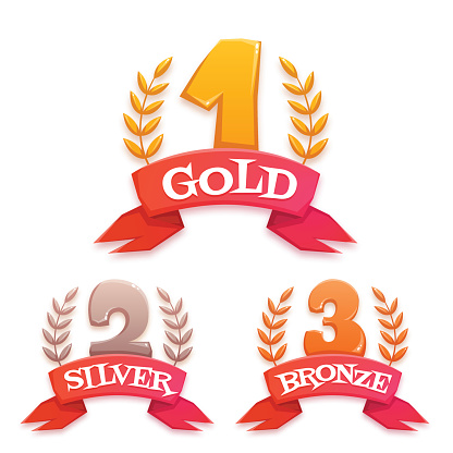 Golden trophy set with laurel and ribbon. Win title. Vector