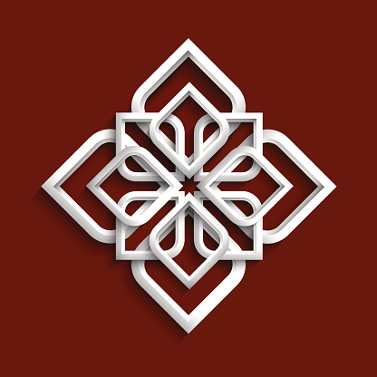 White 3d ornament in arabic style - variation 3