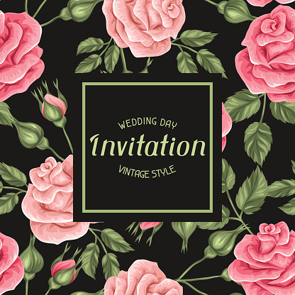 Invitation card with vintage roses. Decorative retro flowers. Image for