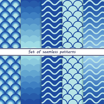set of seamless patterns with blue waves