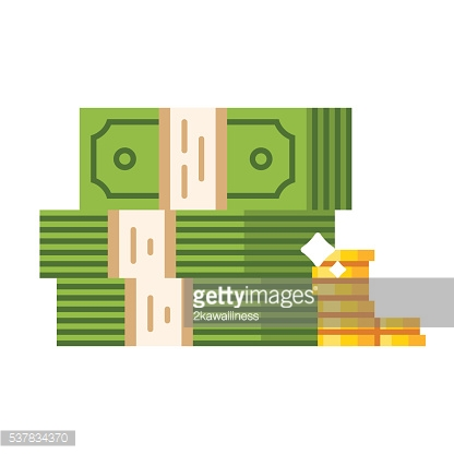 Dollar piles with gold dollar coins