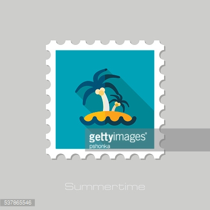 Island with palm trees flat stamp. Vacation