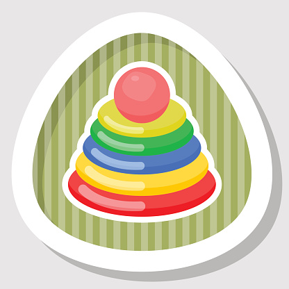 Pyramid kid toy colorful icon