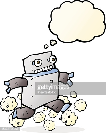 cartoon running robot with thought bubble