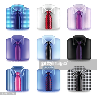 Shirt with tie icons vector set