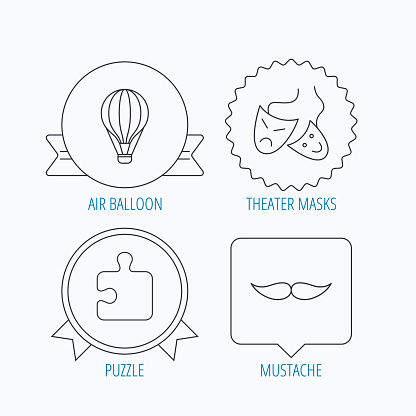 Puzzle, air balloon and theater masks icons.