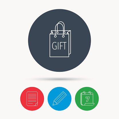 Gift shopping bag icon. Present handbag sign.