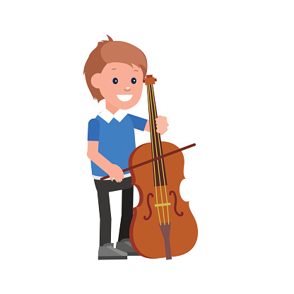 Happy kid playing on contrabass