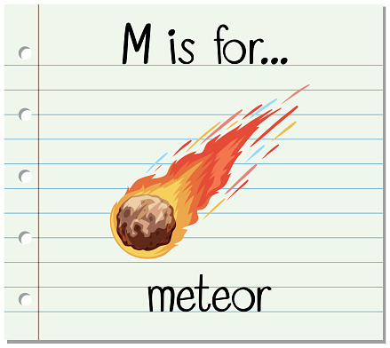 Flashcard alphabet M is for meteor