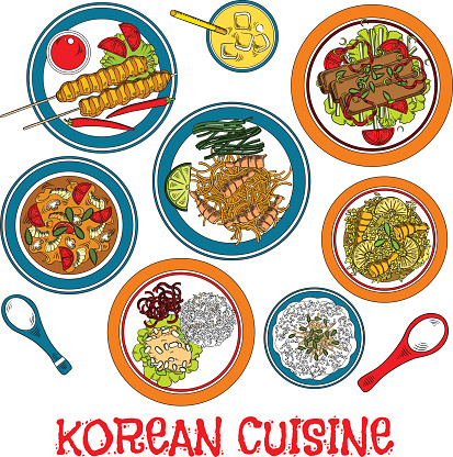 Korean grilled meat and seafood dishes sketch icon