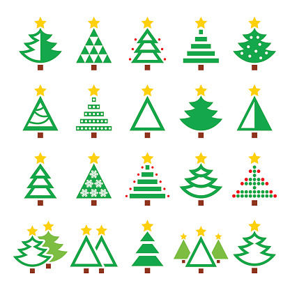 Christmas green tree - various types vector icons set