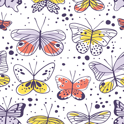 Seamless pattern with butterfly. Hand drawn vector illustration. Decorative elements