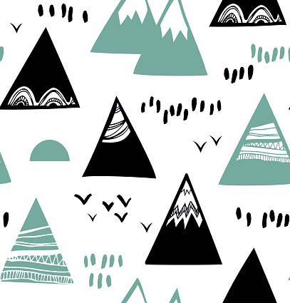 Seamless graphic pattern with mountains, rocks in scandinavian style.