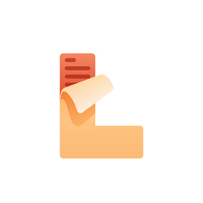 L letter with task list icon. Task list paper.