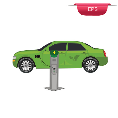 Electric car charging station, vector illustration, flat style