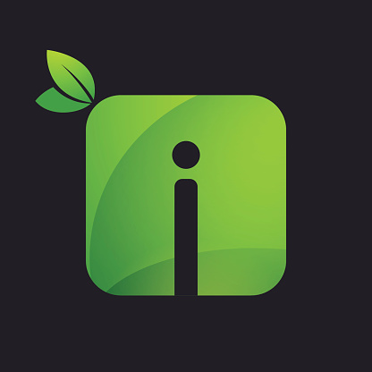 I letter icon with square and green leaves.