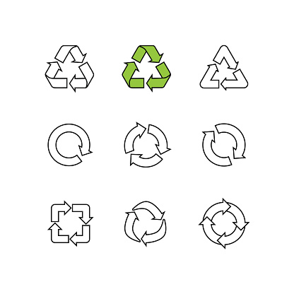 Set of sketch doodle vector recycle reuse symbol isolated on
