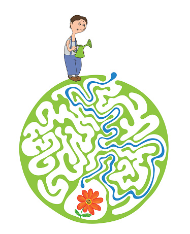 Maze puzzle for kids with gardener and flower. Labyrinth illustration