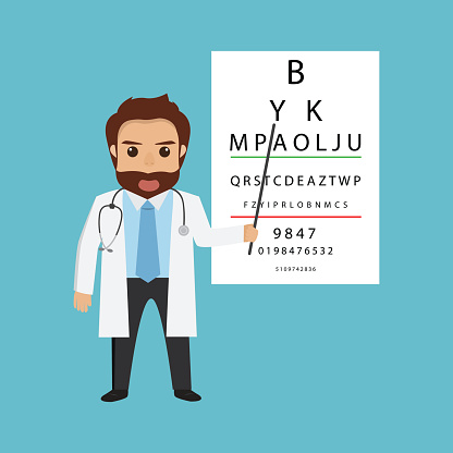handsome man doctor character optometrist points.