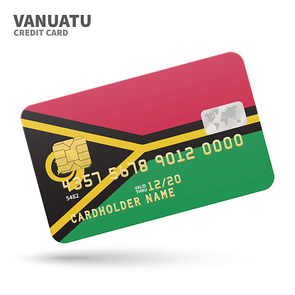 Credit card with Vanuatu flag background for bank, presentations and