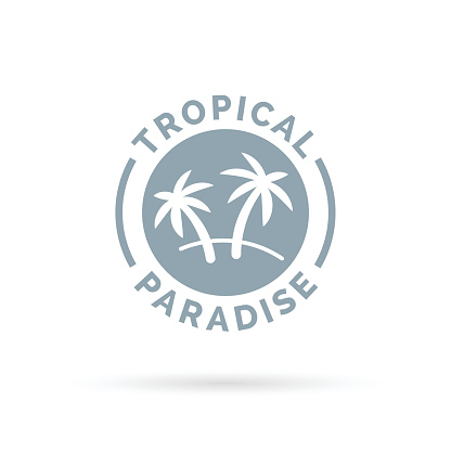 Tropical island paradise icon with palm trees symbol.