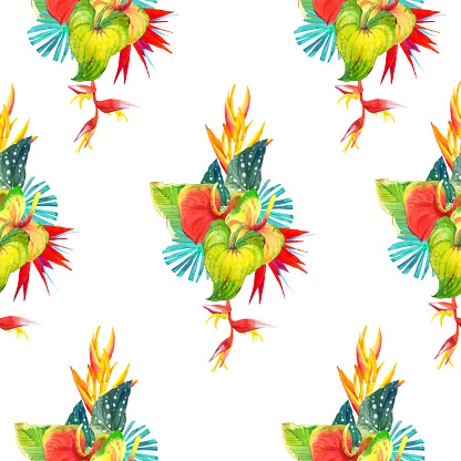 Seamless background with watercolor tropical flowers. Hawaiian style.