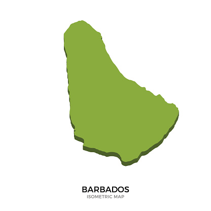 Isometric map of Barbados detailed vector illustration