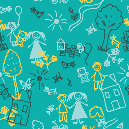 Doodle kids seamless background