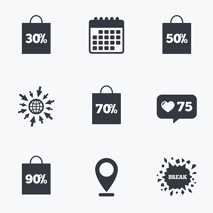 Sale bag tag icons. Discount symbols.