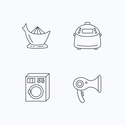 Washing machine, multicooker and hair dryer icons.