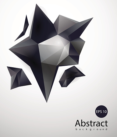 Abstract triangles space low poly. Polygonal vector background