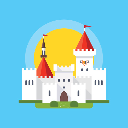 Colorful vector illustration of medieval castle in linear flat style.