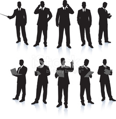 Young business men silhouettes working in suits