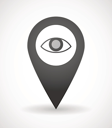 Map mark icon with an eye