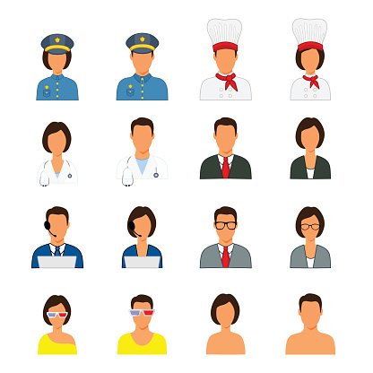 Silhouettes of people different professions