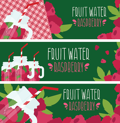 Set of banners with bright fruit water in mason jar