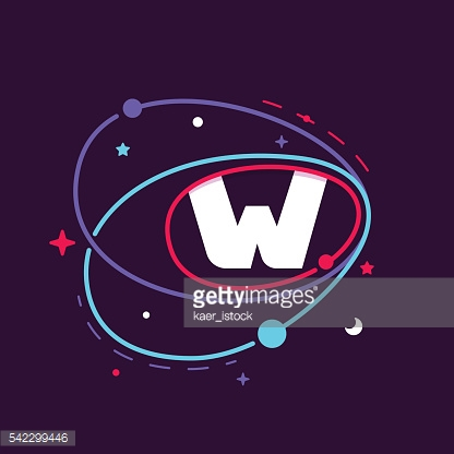 Letter W in space orbits, stars and and planets.