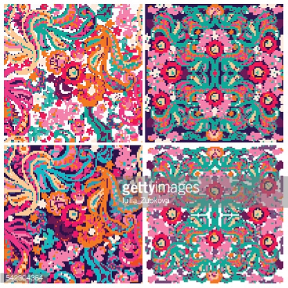 Set of  traditional oriental seamless paisley pattern.Vector.