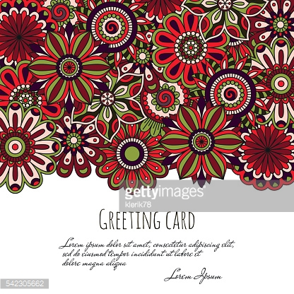Floral background made of many doodle flowers. Greeting card