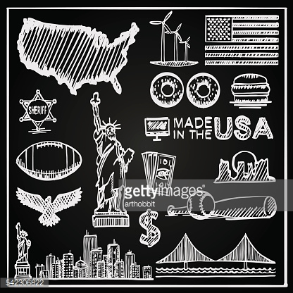 Chalkboard Collection of icons the United States, America sketch set