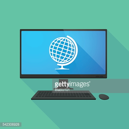 Personal computer with a world globe