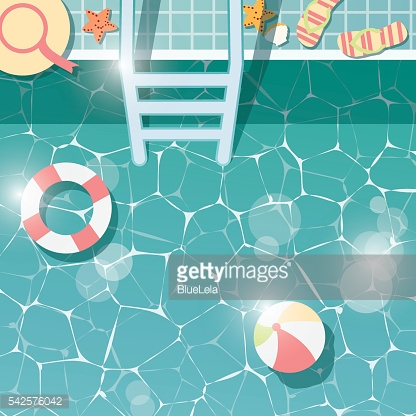 Swimming pool side, top view, summer time holiday vacation