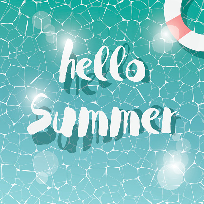 Swimming pool, top view, typographic hello summer message, summer time