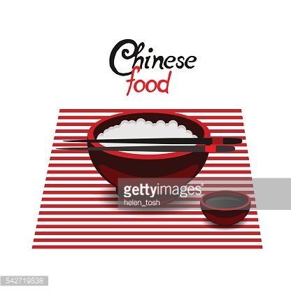 Chinese food rice color vector flat icon
