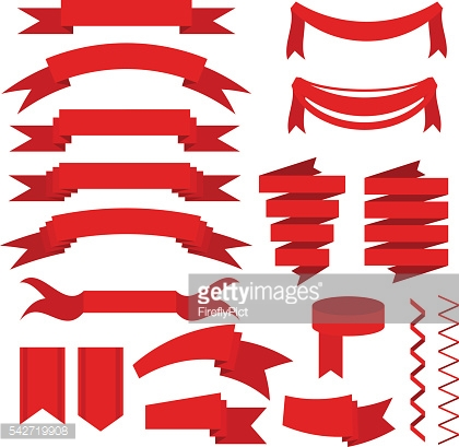 Red ribbons set, flat icons for mobile or web