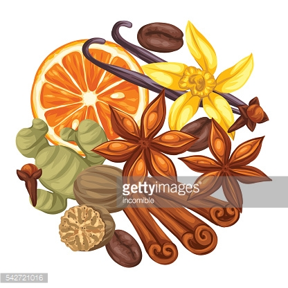 Background design with various spices. Illustration of anise, cloves, vanilla