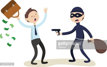 The robber threatens with a gun to businessman. Crime concept
