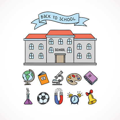 School building and school icons. Hand drawn educational symbols