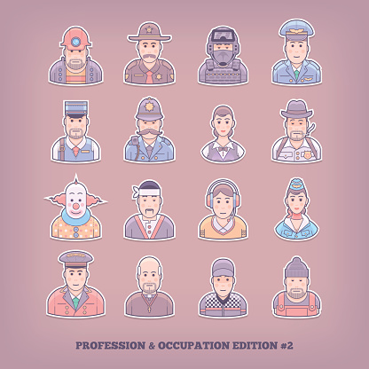Occupation and profession design elements. Flat concept vector illustration.