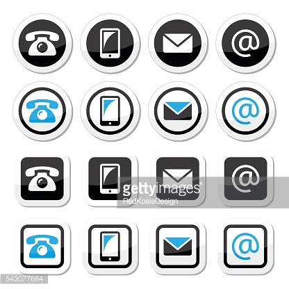 Contact labels in circle and square set - mobile, phone